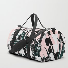 Modern geometric triangles black white abstract marble pattern palm tree leaf pink ombre Duffle Bag