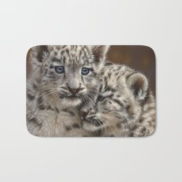 Snow Leopard Cubs - Playmates Bath Mat