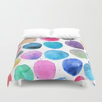 craftberrybush Duvet Covers featuring watercolor blobs by craftberrybush