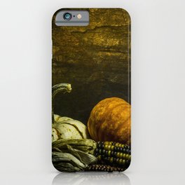 October Pumpkin, Gourd, Indian Corn Scene iPhone Case