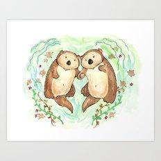 Otters Holding Hands Art Print