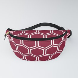 Dark red and white honeycomb pattern Fanny Pack