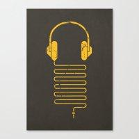 deadmau5 Canvas Prints featuring Gold Headphones by Sitchko Igor