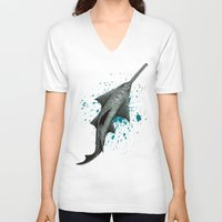 biology V-neck T-shirts featuring Sawfish - Acrylic Painting by Amber Marine