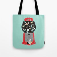 universe Tote Bags featuring My childhood universe by I Love Doodle