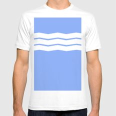 Geometric abstract - zigzag blue and white. MEDIUM White Mens Fitted Tee