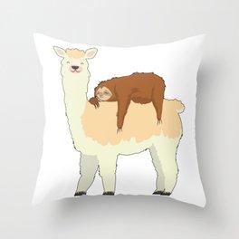 Cute Llama with a Sleeping Sloth Gift Throw Pillow