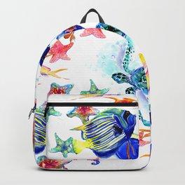 Sea World,Underwater Scene coral sea, beach tropical ocean sea beach house design Backpack