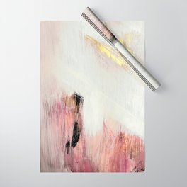 Sunrise [2]: a bright, colorful abstract piece in pink, gold, black,and white Wrapping Paper