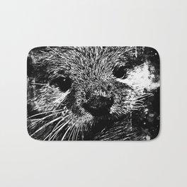 furry fish otter splatter watercolor black white Bath Mat