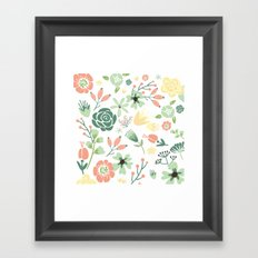 Floral pastel pink and green  Framed Art Print