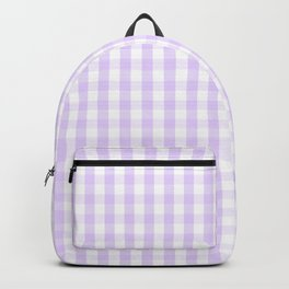 Chalky Pale Lilac Pastel and White Gingham Check Plaid Backpack