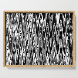 Zigzag Black and White Serving Tray