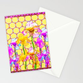 FUCHSIA-YELLOW IRIS GARDEN DESIGNS Stationery Cards