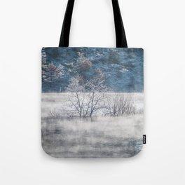 Mists on a lake Tote Bag