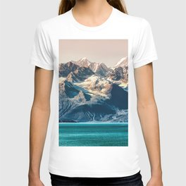 Scenic Alaskan nature landscape wilderness at sunset. Melting glacier caps. T-shirt