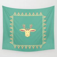 jackalope Wall Tapestries featuring Happy Jackalope by Ruby Door