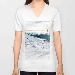 Snowy life on slope under T-bar lifts Unisex V-Neck