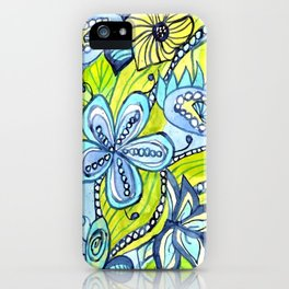 Turquoise, Yellow, and Green Floral iPhone Case