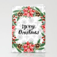 merry christmas Stationery Cards featuring Merry Christmas by Julia Badeeva