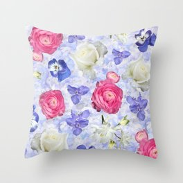Rose Ranunculus Pansy Flowers over Pale Blue Throw Pillow