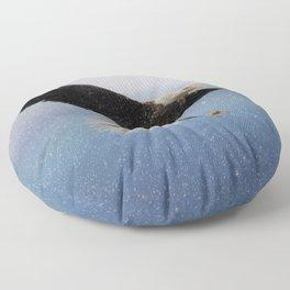 Snowy Flight - Bald Eagle Floor Pillow