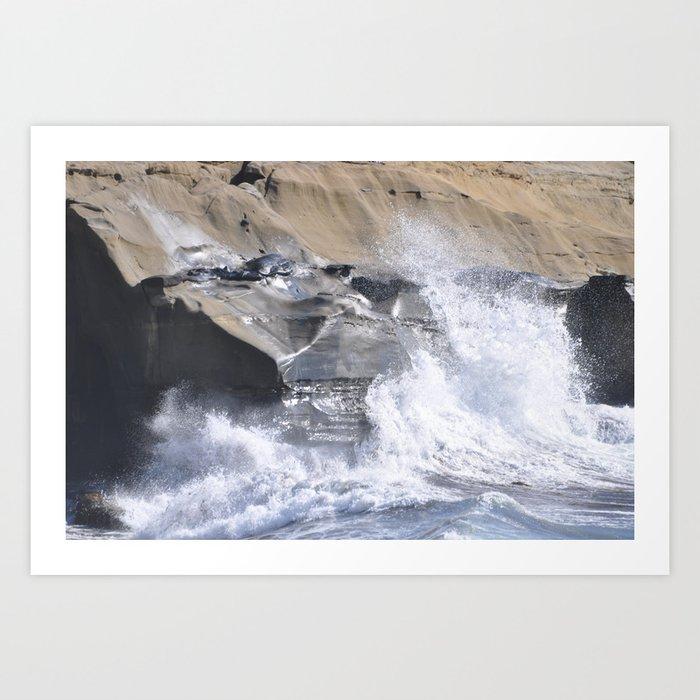 SPLASHING OCEAN WAVE Art Print