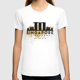 SINGAPORE SILHOUETTE SKYLINE MAP ART T-shirt