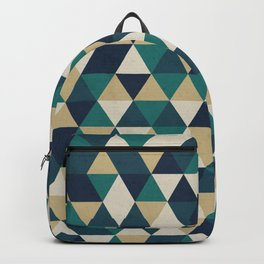 Foggy Petrol and Blue - Hipster Geometric Triangle Pattern Backpack