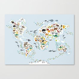 Cartoon animal world map for children and kids, Animals from all over the world Canvas Print