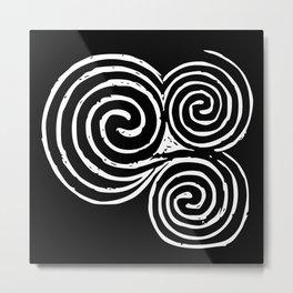 Triskel, Newgrange - White and Black background Metal Print