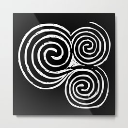 Triskelion, Newgrange - White and Black background Metal Print