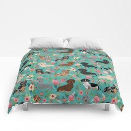 Dachshund florals flower pet portrait dog art dachsie doxie pet art dog breeds Comforters