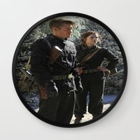 peggy carter Wall Clocks featuring Jack Thompson & Peggy Carter. by agentcarter23