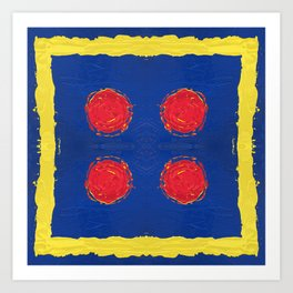 Red dots & yellow square Art Print