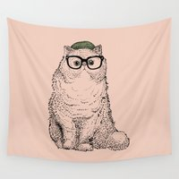 persian Wall Tapestries featuring Hipster Persian Cat by Huebucket