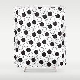 Polka Cat - Black Shower Curtain