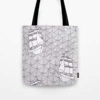 ships Tote Bags featuring Ships by hellotomato