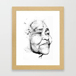 """Gabriela"" of the Kaweskar People B+W Framed Art Print"