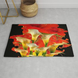 RED FLORALS & YELLOW CALLA LILIES BLACK ART Rug