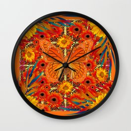 ORANGE MONARCH SUNFLOWERS ART Wall Clock
