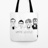 ezra koenig Tote Bags featuring Vampire Weekend by ☿ cactei ☿