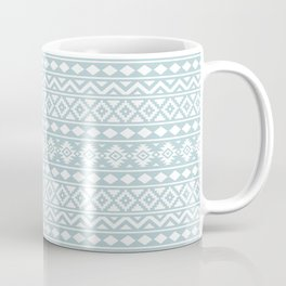 Aztec Essence Ptn III White on Duck Egg Blue Coffee Mug