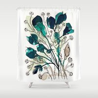 emerald Shower Curtains featuring Emerald by Tonya Doughty