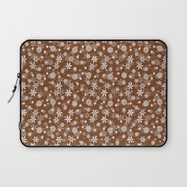 Festive Dark Toffee Brown and White Christmas Holiday Snowflakes Laptop Sleeve