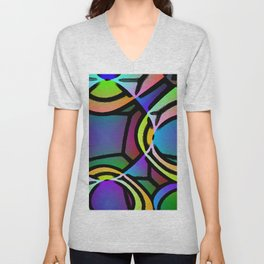 VERY BRIGHT COLORFUL ABSTRACT ARTWORK Unisex V-Neck