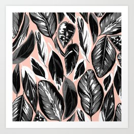 Calathea black & grey leaves with pale background Art Print