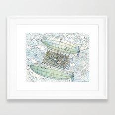 Flying over the montains Framed Art Print