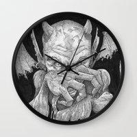 demon Wall Clocks featuring Demon by Jonathan Mariño