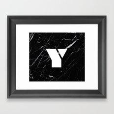 Black Marble - Alphabet Y Framed Art Print